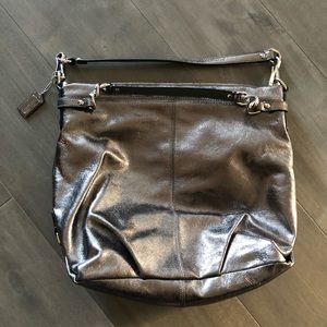 Coach metallic pewter hobo handbag